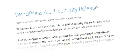 WordPress 4.0.1 Security Release